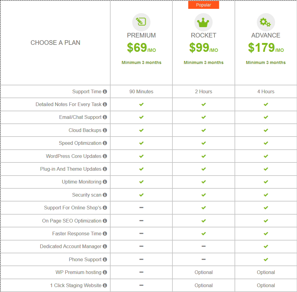 FixRunner Personal WordPress support service pricing table